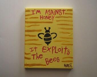 Honey Bee Word Art Folk Painting - Original Canvas Quote - NayArts