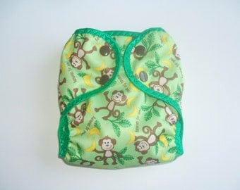 Diaper Cover, Newborn Cloth Diaper Cover,  Nappy Wrap with Snaps, Green Monkey Print