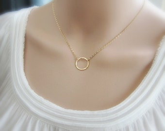 Gold layering necklace Gift for her Gold eternity ring necklace Gold necklace Hammered or smooth circle necklace Dainty gold necklace