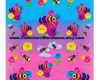 Lisa Frank Bees Sticker Sheet S366 flowers garden roses
