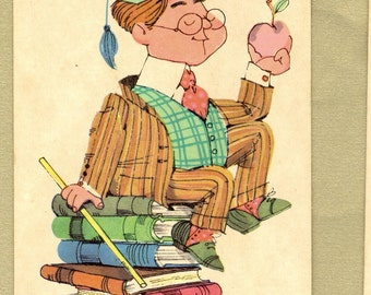 Professor Peter Vintage Old Maid Playing Card for Collage, Scrapbooking, Paper Arts, Assemblage and MORE
