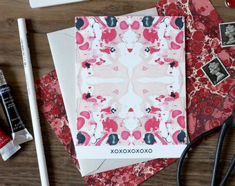 XOXO Tiled Black Coral Peach Marble Greeting Card / Marble Pattern XII / Valentine's Day