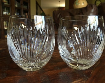 Mikasa Crystal Old Fashioned Set of Two in the Hard to Find Imperial Palace Pattern TYCAALAK