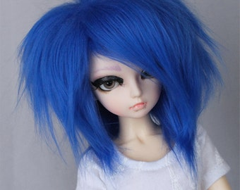 "BJD wig MSD minifee 7"" Royal Blue fake fur wig MonstroDesigns"