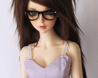 "SD Doll dollfie wig BJD wig 8.5"" wig MonstroDesigns wig long in front Dark brown fake fur wig"