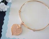 Rose Gold Leaf Bangle, Real Leaf Bracelet, Rose Gold Aspen, Rose Gold Brass, Leaf Bangle, Bracelet, Bridesmaid Gift, Gift, Aspen, Pink Gold