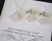 Bridesmaid Necklace and Earring Set Pink, Tie the Knot Earrings, Bridesmaid Gift, Will you be my bridesmaid, Sterling Silver, Monogram