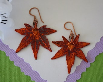 Copper Leaf Earrings, Japanese Maple Leaf, Real Leaf Earrings, Maple Leaf, Copper, Nature, LESM153