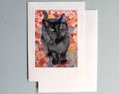 Blank Card / Black cat art / Watercolor handmade note / Paper ephemera / Greeting occasion card birthday anniversary thank you / 7 x 5 A7