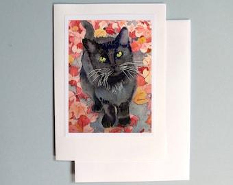 1. Blank Card / Black cat art / Watercolor handmade note / Paper ephemera / Greeting occasion card birthday anniversary thank you / 7 x 5 A7