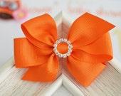 New! Set of 2pcs handmade Grosgrain Bows--orange (GR1174)