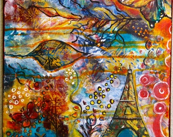 Eiffel Tower Original Mixed Media Painting Intuitive Art Painting 12 x 12 Canvas