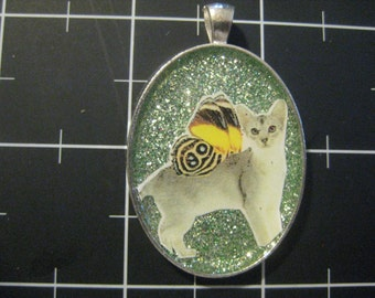 Ethereal Winged Cat Pendant, 50% goes to the current selected animal charity