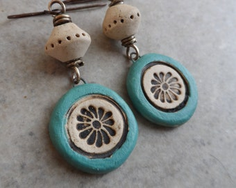 Simple Treasures ... Natural Ceramic and Brass Wire-Wrapped Rustic, Boho, Earthy, Primitive, Floral Earrings
