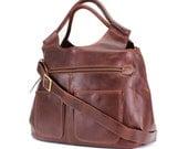 Leather Weekend Bag/ leather holdall/ leather daiper bag/ handbag