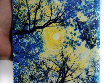 China blue, 5x7 inches, wood mounted, mixed media photograph, trees, tree photography, Delft blue, nature, Home decor, Art