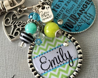 Sweet 16 key chain, Never drive faster than your guardian angel can fly, birthday quote, CHEVRON sweet 16 gift, daughter gift, niece gift