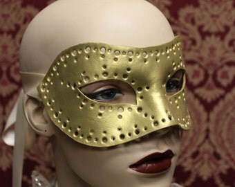 Gold Hand tooled Leather 'Coquette' Mask - ready to ship