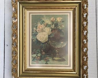 Vintage Floral Print in Gesso Frame - Robie Jean Baptiste - Roses - Medium Size