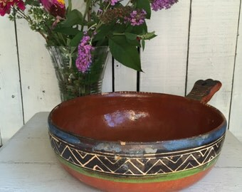 Vintage Redware Pottery Bowl - Mexican - Large - Tlaquepaque 1950s Handpainted Terra Cotta