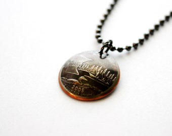 Minnesota State Quarter Pendant,  2005, Domed Coin Necklace, U.S. Quarter Dollar, Jewelry by Hendywood