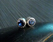 Sapphire Bezel Set Stud Earrings - Lab Created Sapphire - September Birthstone Stud Earrings - 4mm Blue Stud Earrings