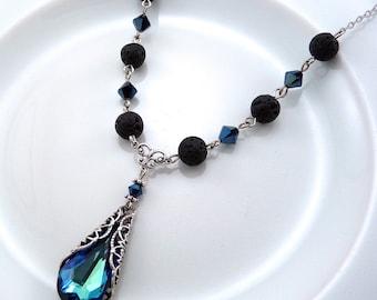 Blue Crystal Essential Oil Necklace, Bermuda Blue Crystal and Lava Necklace, Lava Bead Jewelry, Aromatherapy Jewelry, Swarovski Crystals