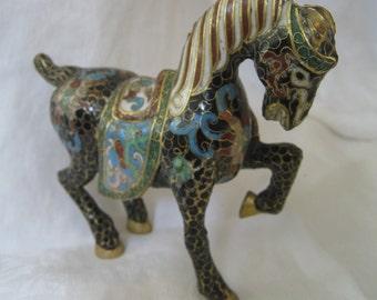 ANTIQUE Cloisonne Enamel Horse Figure