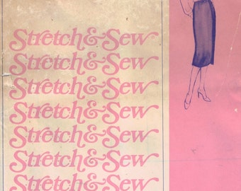 1980s Vintage Sewing Pattern Stretch and Sew 455 No-Seam Wrap Skirt Hip 32-42 Inches Misses Womens 80s UNCUT