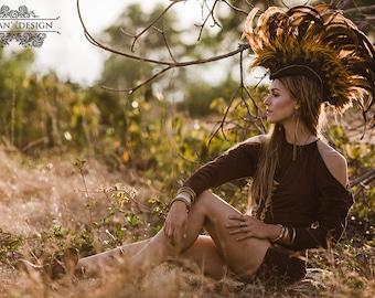 WASABI DRESS SWEATER - Organic Long sleeve Boho Bohemian Hippie Urban Yoga Pixie Faery Fairy Burning man - Brown