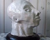 vintage art pottery sculpture  head of man