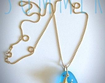 Starfish necklace Seaglass Jewelry Gold Polkadot Beachglass Seaglass Necklace
