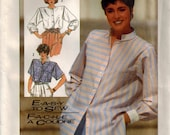80s Easy-to-Sew Sewing Pattern for Misses Shirt 2 Length Simplicity 7326 Plus Sizes 16-20 Side Slits Shoulder Tucks Mandarin Stand UP Collar
