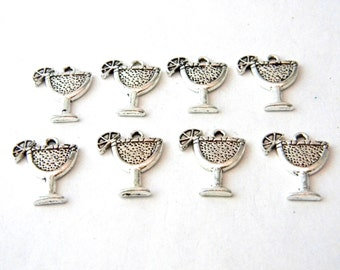 Margarita Glass Charms Set of 8 Silver Color 12x14mm