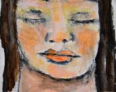 Acrylic Portrait Painting. Original Pocket Art. Young Girl Face Painting. 4x4 Mini Painting. Bedroom Wall Decor. Ready to Ship