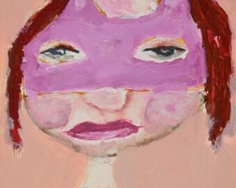 Acrylic Portrait Painting - Halloween Art - Pink Masquerade Mask - Little Girls Room - Home Wall Decor