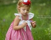 Little Girls Red Gingham Dress Sizes NB- 7/8