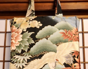 Japanese Tote Bag, Cranes, Waves, Flowers and Pines TIGHT 'N' TIDY Tote Bag, Folding Reusable Shopping Bag, Black Green White Pink Gold