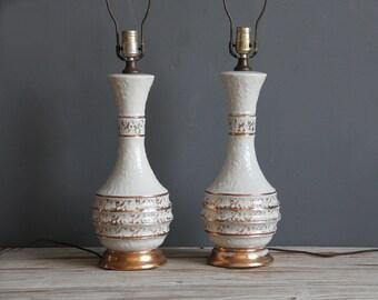 Metallic Gold & White Ceramic Lamps, Pair