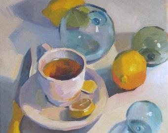 "Art painting still life ""Summer Tea"" original oil by Sarah Sedwick 12x12"""