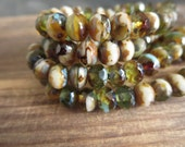 Czech glass beads, faceted rondelle, mix of amber brown green and beige  with  picasso edges 5mm x 7mm / 25 beads  5CZ837