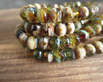 Czech glass beads, faceted rondelle, mix of amber brown green and beige  with  picasso edges 5mm x 7mm / 25 beads  7aZ837