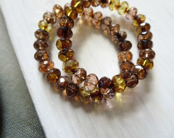 Brown peach yellow Czech beads, faceted rondelle czech glass beads,  translucent with  picasso edges   5mm x 7mm / 20 beads  5CZ548
