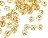 72 Gold Beadcaps - 5mm Filigree Dome Caps - Plated Bright Gold Bead Caps for Small Beads (FS148)