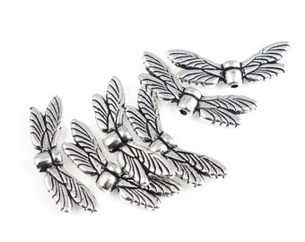 Dragonfly Wings Beads - TierraCast Antique Silver Beads - Vertically-Drilled Customizable Jewelry Supplies (P3)