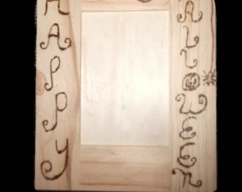Clearance Sale Happy Halloween Rustic Wood Burned Picture Frame Bat Ghost Pumpkin Spider Baby's First Halloween Fall Wedding Gift