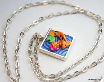 SALE Koi Pond Pendant in Polymer Clay Filigree (Mini Square) Clearance
