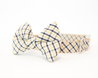 Georgia Tech and Gold Gingham Dog Bowtie Collar