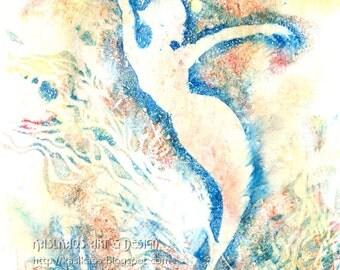 Elegant Mermaid Art, Brown and Blue, Art Deco Mermaid, Mermaid Nursery Art, Pastel Colors, Fantasy Wall Art, Pastel Print, Fantasy Art Print