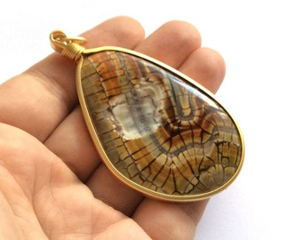 1pc- Matte Gold Plated Druzy Agate Pendant-75x43mm-(012-037GP)